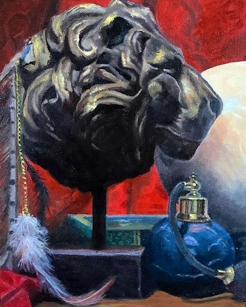 Study of Lion Head original atelier oil painting study