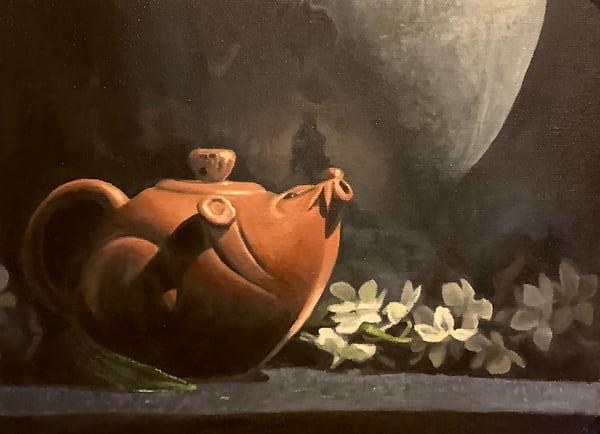 Study Of Mole Pot And White Blossoms Art | Hilary J. England, Contemporary American Artist