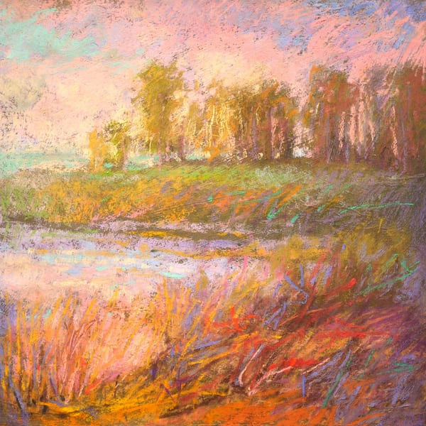 Pastel Marsh Landscape Painting, Art Print by Dorothy Fagan