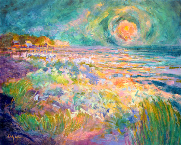Turquoise Sunset Ocean Painting Fine Art Print by Dorothy Fagan