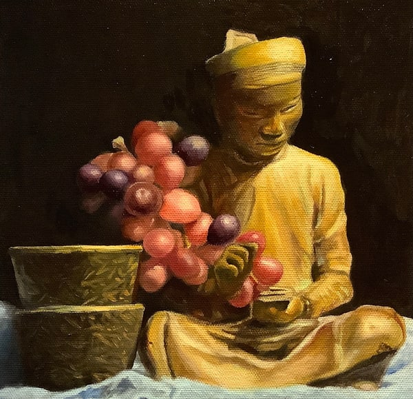 Study Of Oriental Scribe And Grapes Art | Hilary J. England, Contemporary American Artist