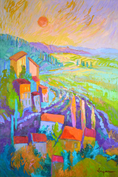 French Landscape with Lavender Fields Painting Art Print by Dorothy Fagan