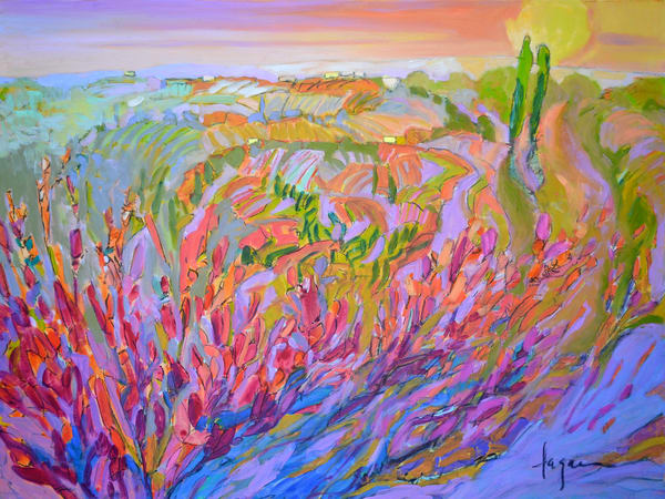 Pink Landscape Painting, Fine Art Print by Dorothy Fagan