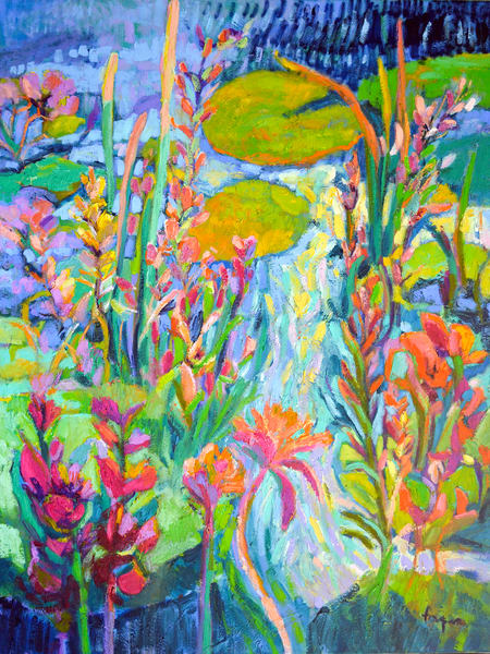 Abstract Flowers Water Lily Painting by Dorothy Fagan
