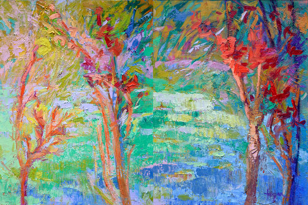 Woodland Trees Painting, Fine Art Print by Dorothy Fagan