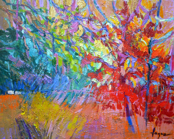 Red Abstract Tree Painting, Fine Art Print by Dorothy Fagan