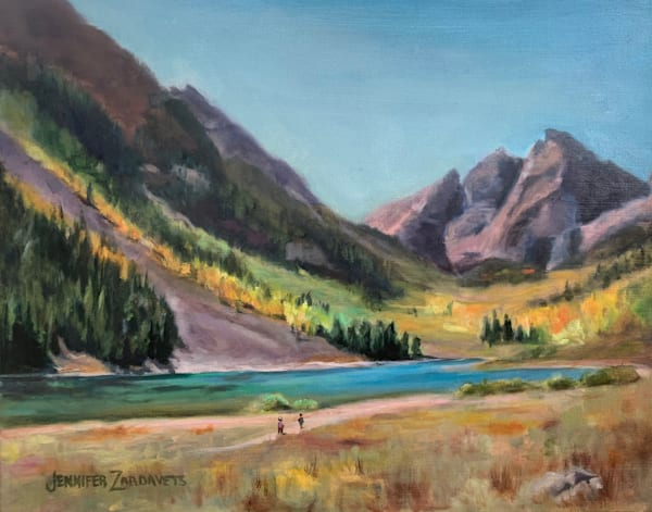 Painting of Maroon Bells in the Fall