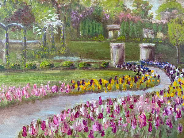Blue Grass Native artist, Marie Stephens, captures the iconic place Quad Citizens all know as Vander Veer Park, in Davenport, Iowa.