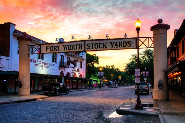 Sunrise over the Fort Worth Stock Yards