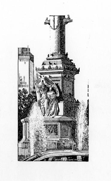 Columbus Circle, Nyc Pen & Ink Art   Andre Junget Illustration LLC