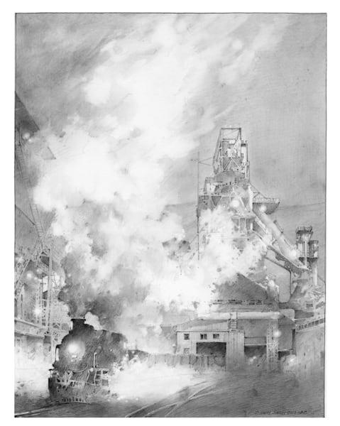 Mill Train Art   Andre Junget Illustration LLC