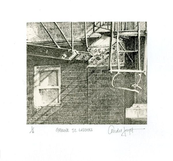 Green Street Ladders (Chine Colle')  Art   Andre Junget Illustration LLC