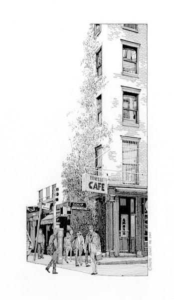 Fanelli Cafe, Nyc Pen & Ink Art   Andre Junget Illustration LLC