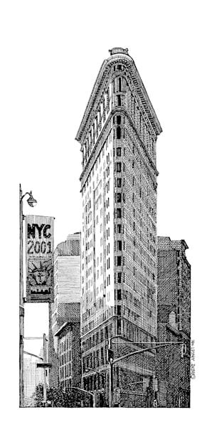 Flatiron Building Pen & Ink Art   Andre Junget Illustration LLC