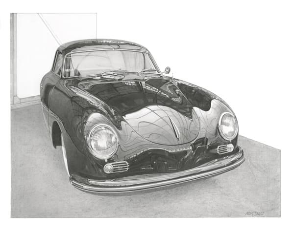 Porsche 356 A Pencil Art   Andre Junget Illustration LLC