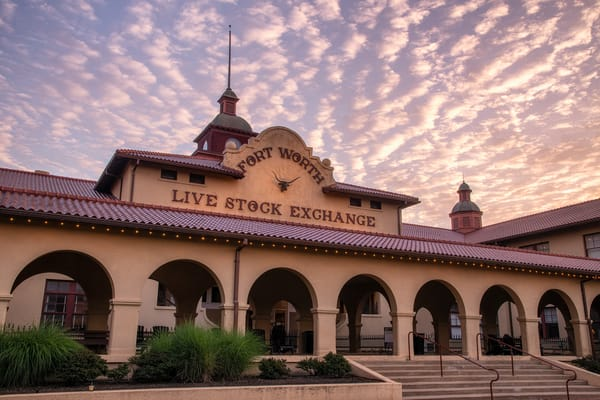 Sunrise over the Fort Worth Live Stock Exchange - Texas fine-art photography prints