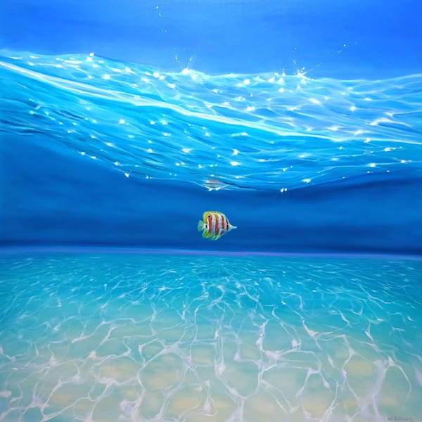 big blue under the sea painting with tropical fish
