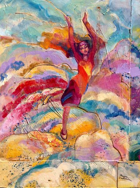 "High quality art print of prophetic art by Monique Sarkessian ""Heaven Dancers 13"" a beautiful worship praise dancer."