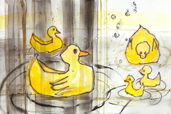 Duckies In Bathtub With Shower Curtain Art | Elaine Schaefer Hudson Art
