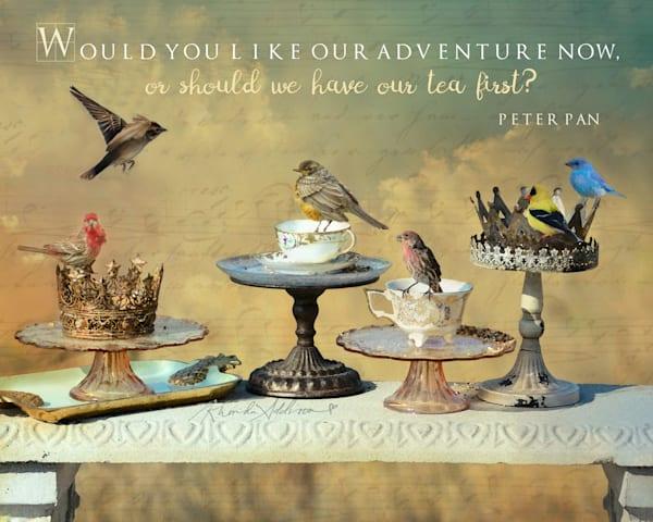 Birds, teacups & crowns embellished art