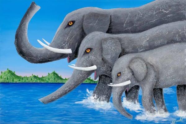 Elephants Crossing the River