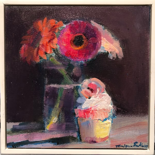 """""""Still Life with Gerbera Daisies and Pink Cupcake"""". Original fine art paintings by Monique Sarkessian."""