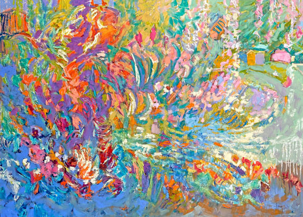 Oversize colorful garden abstract painting