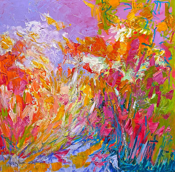 Pink and orange square floral abstract