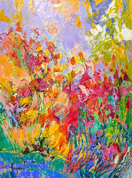 Yellow and red vertical garden abstract painting