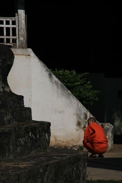 monk, luang prabang, laos, buddhist monk Monk & Staircase in Luang Prabang, Laos