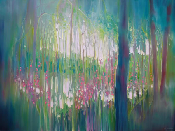 large semi abstract oil painting of a green woodland lake in a clearing with a deer stag