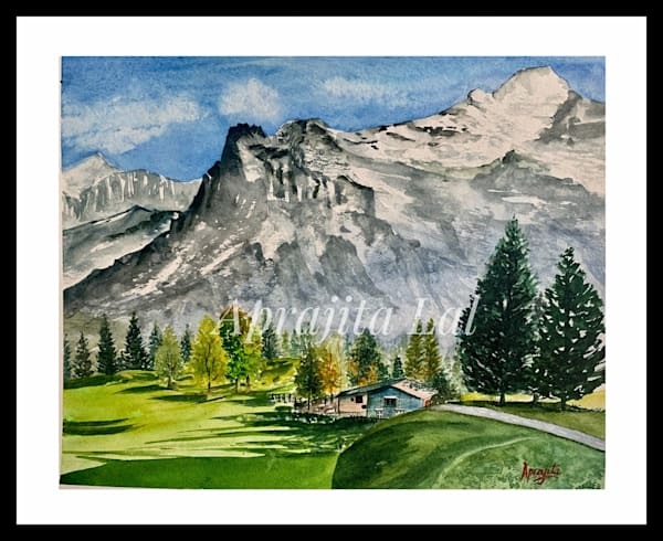 """Alpine Valley"" in Watercolors by Aprajita Lal (Original 8x10)"