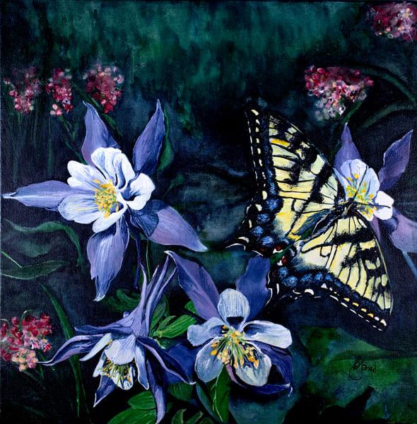 Swallowtail On Columbines Art | Jones Family Art