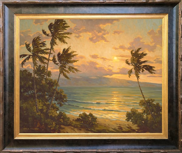 Sunset Over Lanai By Daryl Millard Framed In Stock Antique Gold, Dark Coffee Burl Wood and Wide Bronze Bamboo.