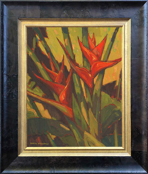Red Heliconia In Stock Antique Gold Coffee Burl Wood