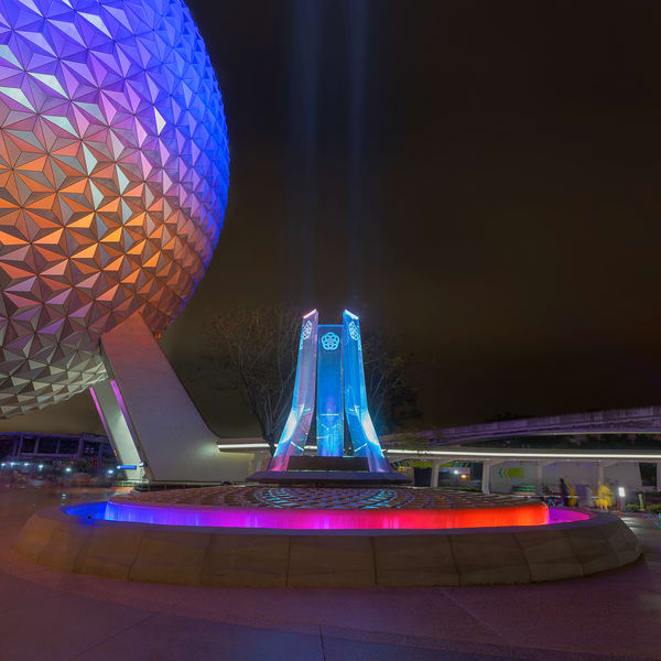 Spaceship Earth And A Colorful Fountain Photography Art   William Drew Photography
