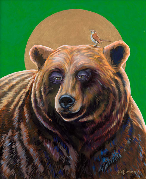 Original painting of a bear with a Saint's halo and a Wren bird on it's shoulder, available as art prints.
