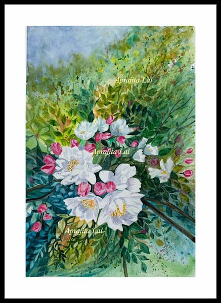 """Cherry Blossom - 2"" in Watercolors by Aprajita Lal (Original 12x18)"