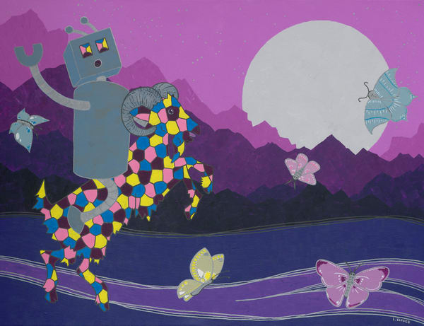 Robot And The Amazing Technicolor Dreamgoat Art | Laura Coffee
