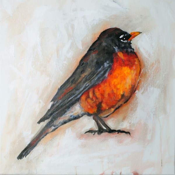 robin art, bird art, robin, painting, life is sweet,