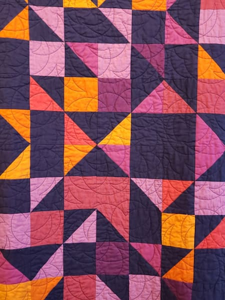 Handcrafted Crib Quilt Sunset Reflections with Hanging Sleeve