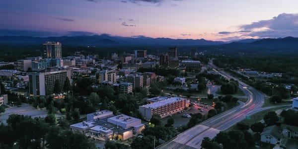 Beautiful Asheville Skyline Sunset Print