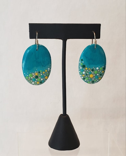 Hand Painted Earrings on Oval Shaped Wooden Wood Disks