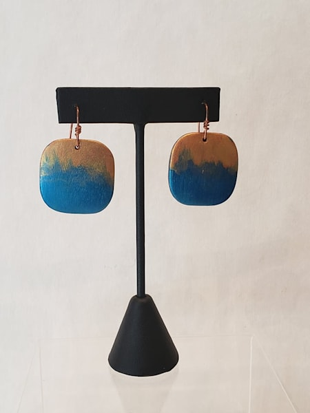 Gold and Turquoise Hand Painted Earrings on Square Wooden Panels