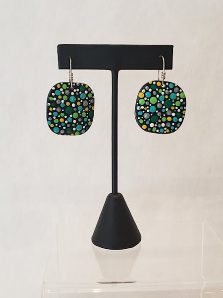 Hand Painted Black Green Dot Earrings on Square Wooden Wood Panels