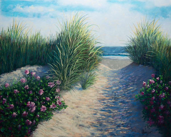 Rosy Beach Path   Original Art   Mark Grasso Fine Art