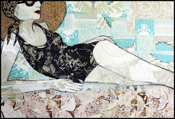 Post Cards From The Edge is a textile mosaic by Sharon Tesser using silk and cotton.