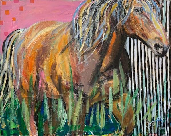 Horse on Pink original painting by Jennifer Ferris