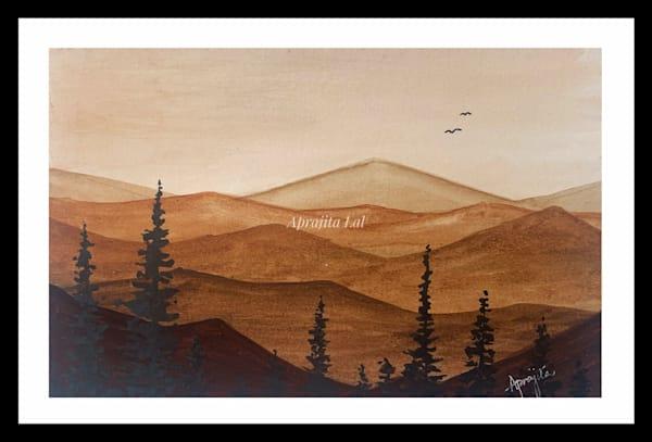 """""""Hills and Hues - 1"""" in Watercolors by Aprajita Lal (Original 5.5x7.5)"""