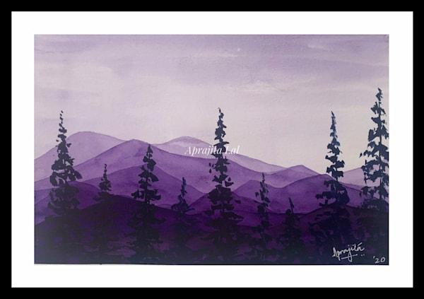 """""""Hills and Hues - 2"""" in Watercolors by Aprajita Lal (Original 5.5x7.5)"""